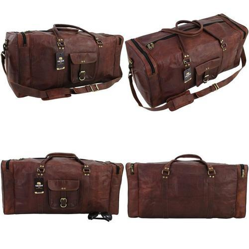 05359eb053c3 Znt Bags Vintage Leather 24Inch Brown Duffle Travel Bag/Overnight Bag  Weekend Bag Leather Gym Sport