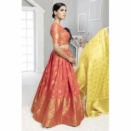 0957c1648 Banarasi Silk Semi-Stitched Lehenga Choli