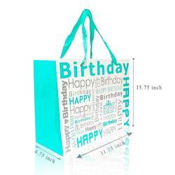 Fancy Gift Printed Happy Birth Day Green Carry Bag