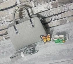 Grey Brand New Women PU Leather Self Textured Handbag Shoulder