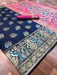 Wedding Wear Printed Soft pure Banarasi silk saree, 6.3 m (with blouse piece)