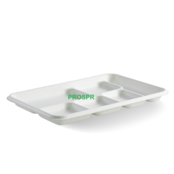Biodegradable Sugarcane bagasse 6 compartment Plate