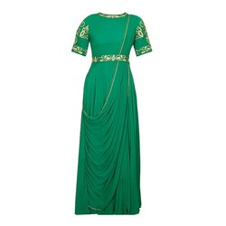 Green Party Georgette Saree Gown, Size: XL