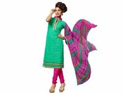 Green and Pink Coloured Unstitched Salwar Suit