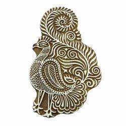 Wooden Peacock Pattern Printing Block