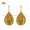 Handmade Yellow Gold Plated Brass Fashion Earrings Jewelry