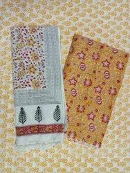Yellow Floral Hand Block Print Suit Set Cotton Cambric Fabric