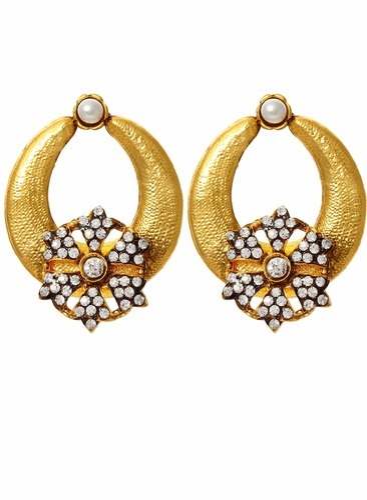 Disha Designer Golden Stud Earrings