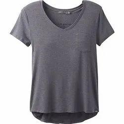 Cotton Half Sleeve Ladies Grey T Shirt