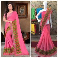 Pink Color Chiffon Multi Work Designer Border Saree With Blouse