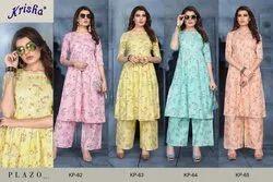 Multicolor krisha Kurti With Palazzo for Woman