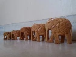 Wooden Down Trunk Carving Elephant Statue