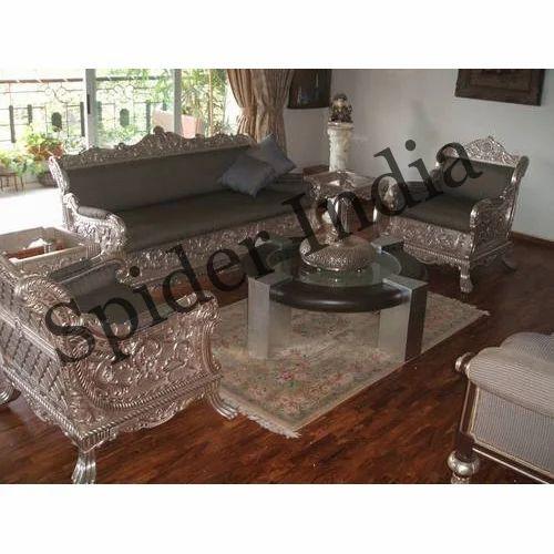 Mango Wood Silver Inlay Home Sofa Set