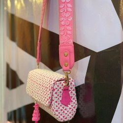 White and Pink Embroidered Belt Bag