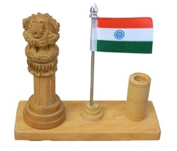 Wooden Ashok Stumbh Pillar Desktop Handicrafts Items, Size/Dimension: 6x3x5 Inch, for Promotional Gifts