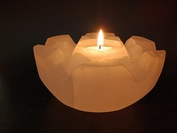 Flower Shape Selenite Candle Holder