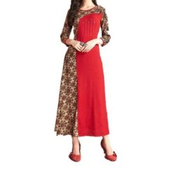 Casual Wear 3/4th Sleeve Ladies Printed Long Rayon Kurti