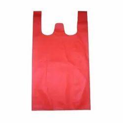 Red Plain W Cut Non Woven Bag