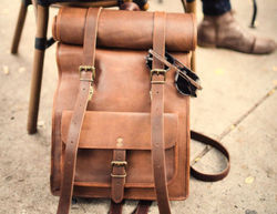 Handmade Vintage Leather Shoulder Backpack