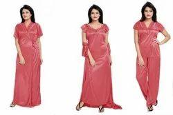 Ethnic Stitched Women's Satin 4 Pc Nighty, Size: Free