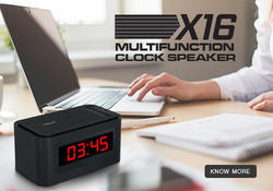 Walnut Black Multifunctional Desk Clock with Speaker