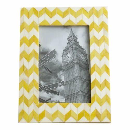 Royal Artisans Yellow & White Bone Picture Frame