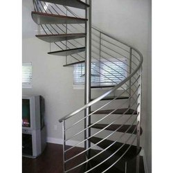 Stainless Steel Spiral Staircase, for Home, 50mm Handrail
