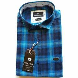 Blue Cotton/Linen Men's Fashion Shirt