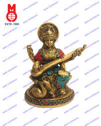 Saraswati Sitting On Lotus W/Stone Work Statues
