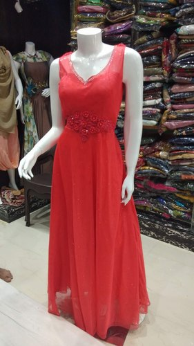 Plain Party Ladies Red Long One Piece Gown