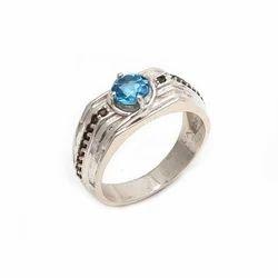 Natural Hot Blue Topaz & Smoky Topaz Handmade 925 Fine Silver Ring