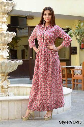Vedika Overseas Pink Cotton Long Gown Dress de8a825c4