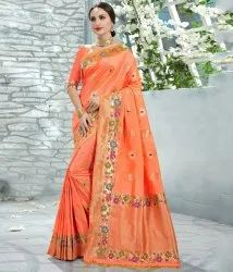 Shree Exports Peach Upada Silk Exclusive Party Wear Saree, With Blouse Piece