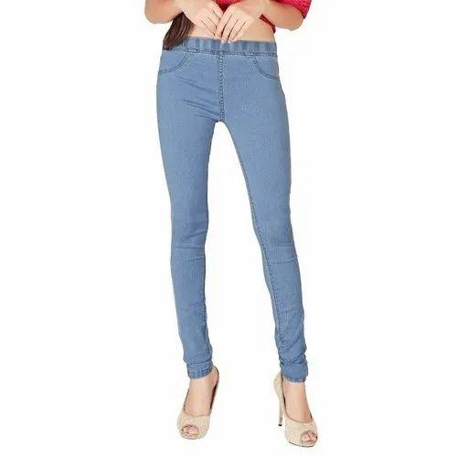 825484e12f0a3 Light Blue Plain Ladies Ankle Length Jeggings, Rs 650 /piece   ID ...