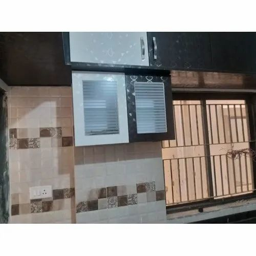 Brown And White Melamine Wall Mounted Wooden Kitchen Cabinet