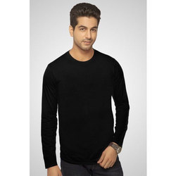 Small , Large Cotton Black Full Sleeve T Shirt