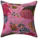 Kantha Printed Cushion Cover 16x16 Tropical Pillow Case