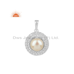 Zircon & Pearl Gemstone White Rhodium Plated Silver Pendants