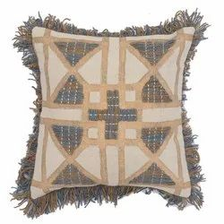 Embroidered Fringe Decorative Square Cotton Cushion Cover