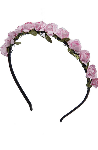 Baby Pink Roses Flower Garland Hairband a5717c8a445