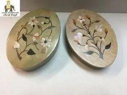 Soap Stone Oval Inlay Box 4''