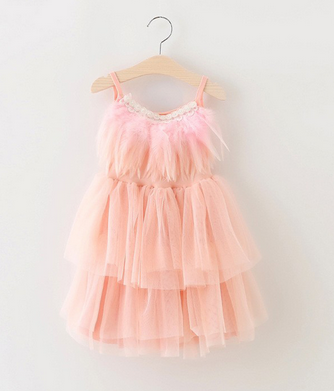 1a618c26a Baby Girls Lace Summer Dress With Flowers Feather