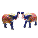 Multicolor White Metal Meenakari Elephant Statue, For Promotional Use