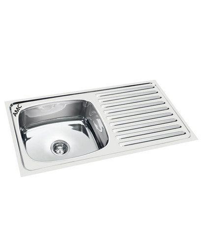 AMC Single Bowl Sink With Drain Board 37X18X8, SS Kitchen Sink ...