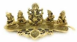 Gold Plated Musical Ganesha on Leaf with Deepak