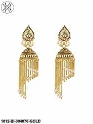 Pearl Tassel Jhumka Earrings