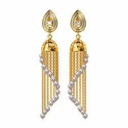 49jewels Round Long Pearl Jhumka Earrings