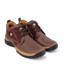 Men Casual Dark Brown Wood Chief Pure Leather Shoes
