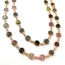 Tourmaline Rose Gold Plated Bezel Connector Chain