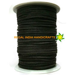 Black Flat Square Leather Laces-  3mm